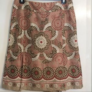 Loft skirt, cream, tan, and coral size 6